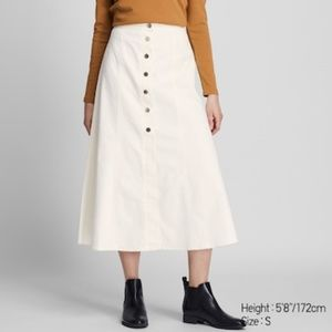 Uniqlo Button Front Long Chino Skirt White NWT 6